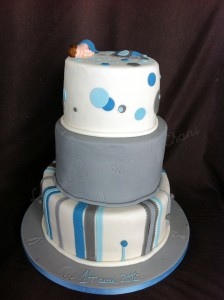 christening cake grey and blue 1
