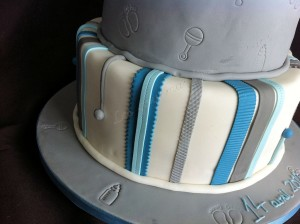 christening cake grey and blue 3