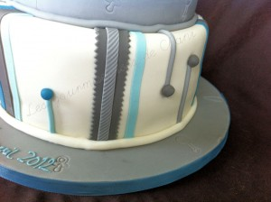 christening cake grey and blue 4